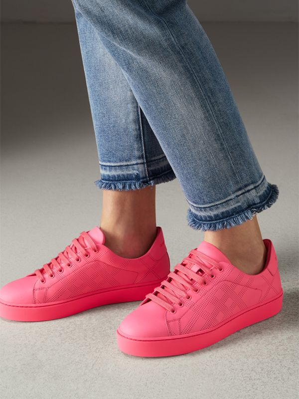 Perforated Check Leather Sneakers in Neon Pink - Women | Burberry - cell image 2