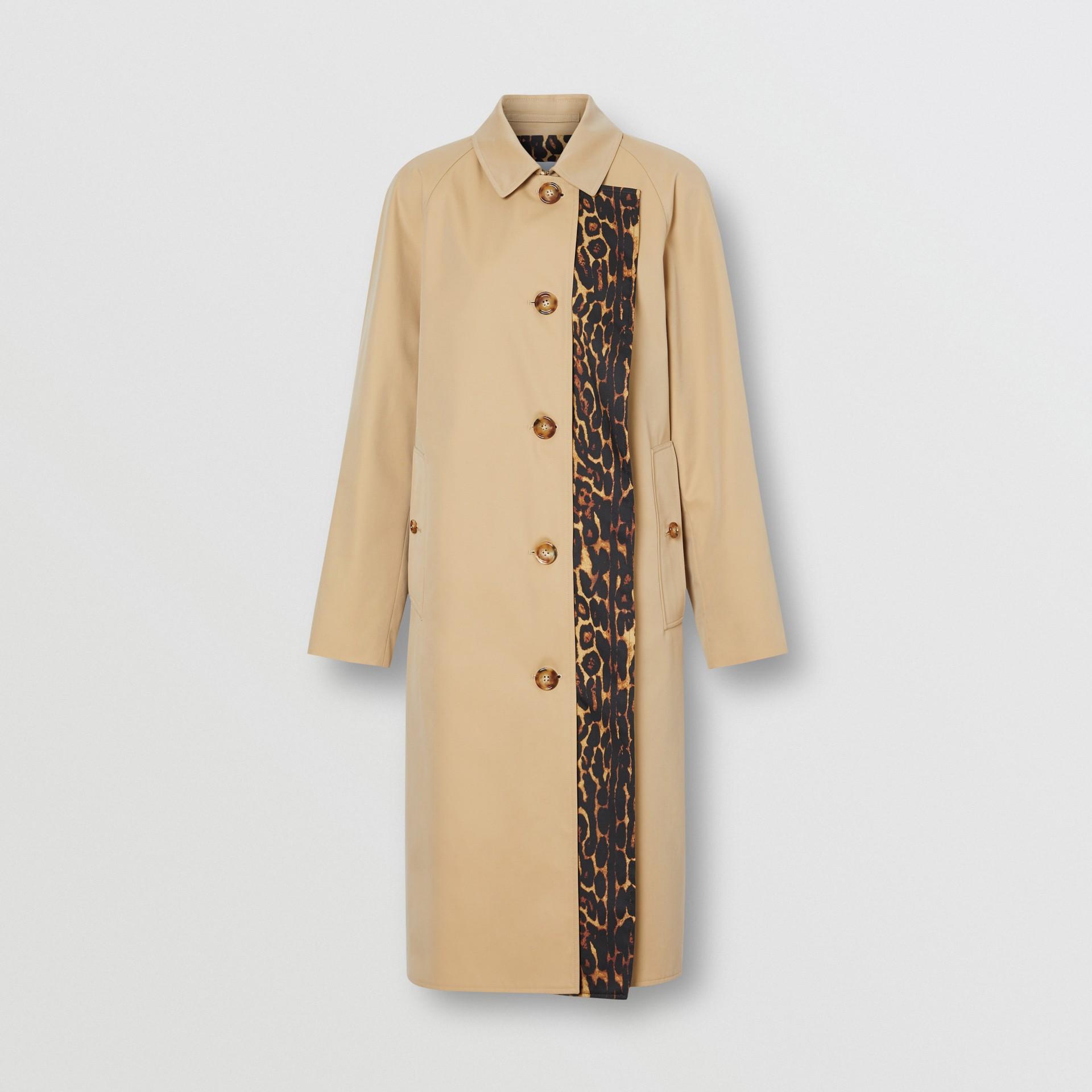 Leopard Print-lined Cotton Gabardine Car Coat in Honey - Women | Burberry United Kingdom - gallery image 2
