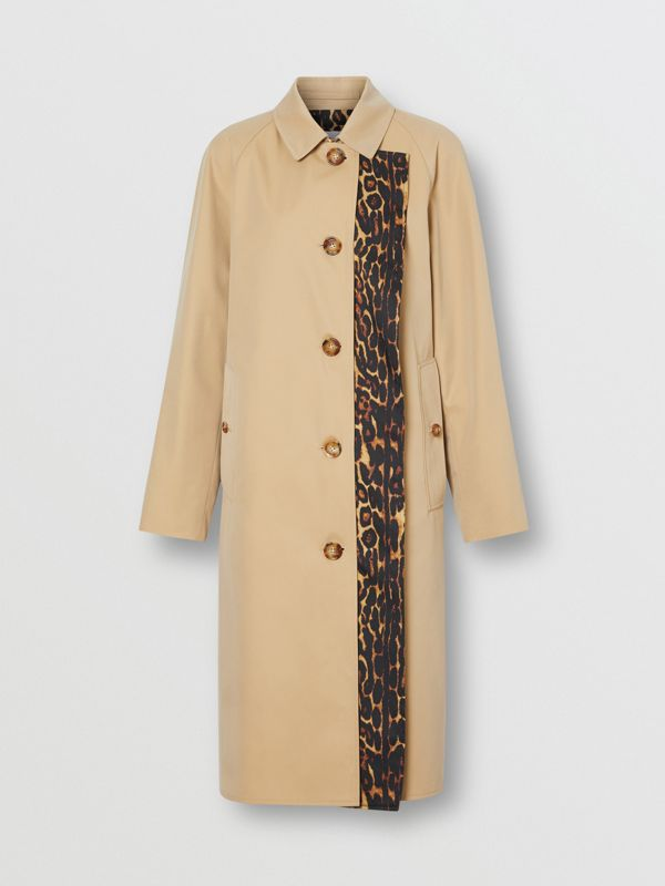 Leopard Print-lined Cotton Gabardine Car Coat in Honey - Women | Burberry United Kingdom - cell image 2