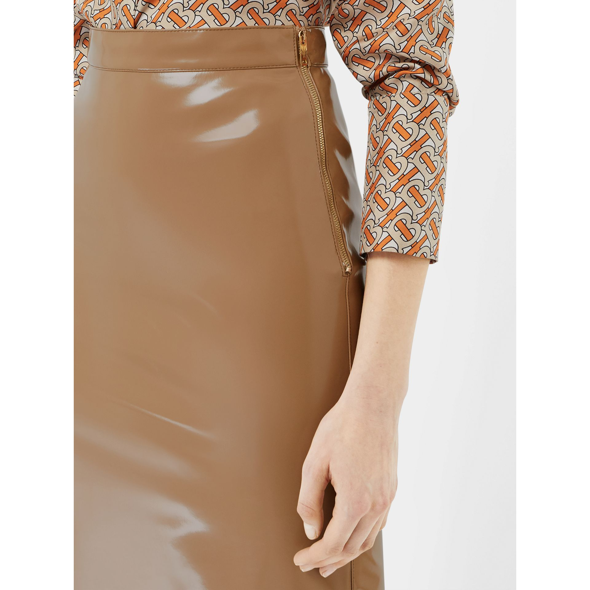 Vinyl Pencil Skirt in Utility Beige - Women | Burberry - gallery image 1
