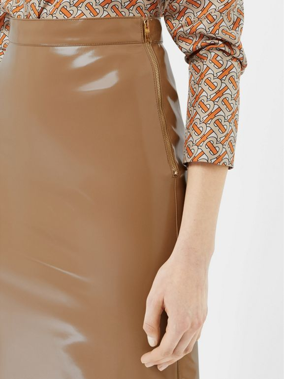 Vinyl Pencil Skirt in Utility Beige - Women | Burberry - cell image 1