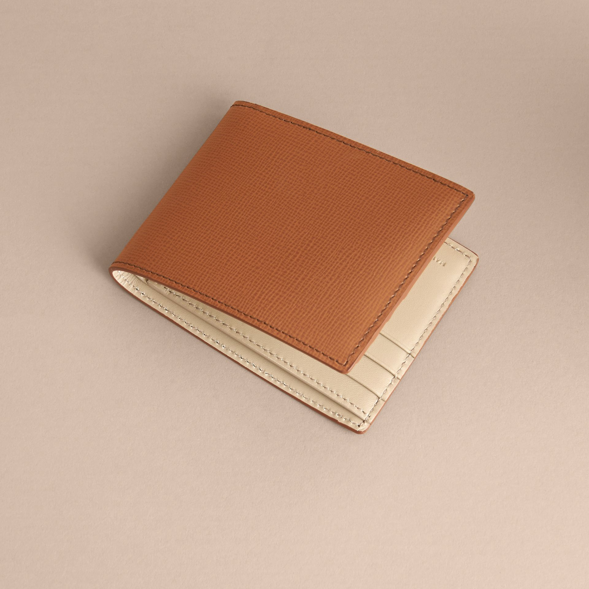 London Leather Bifold Wallet in Tan | Burberry - gallery image 4