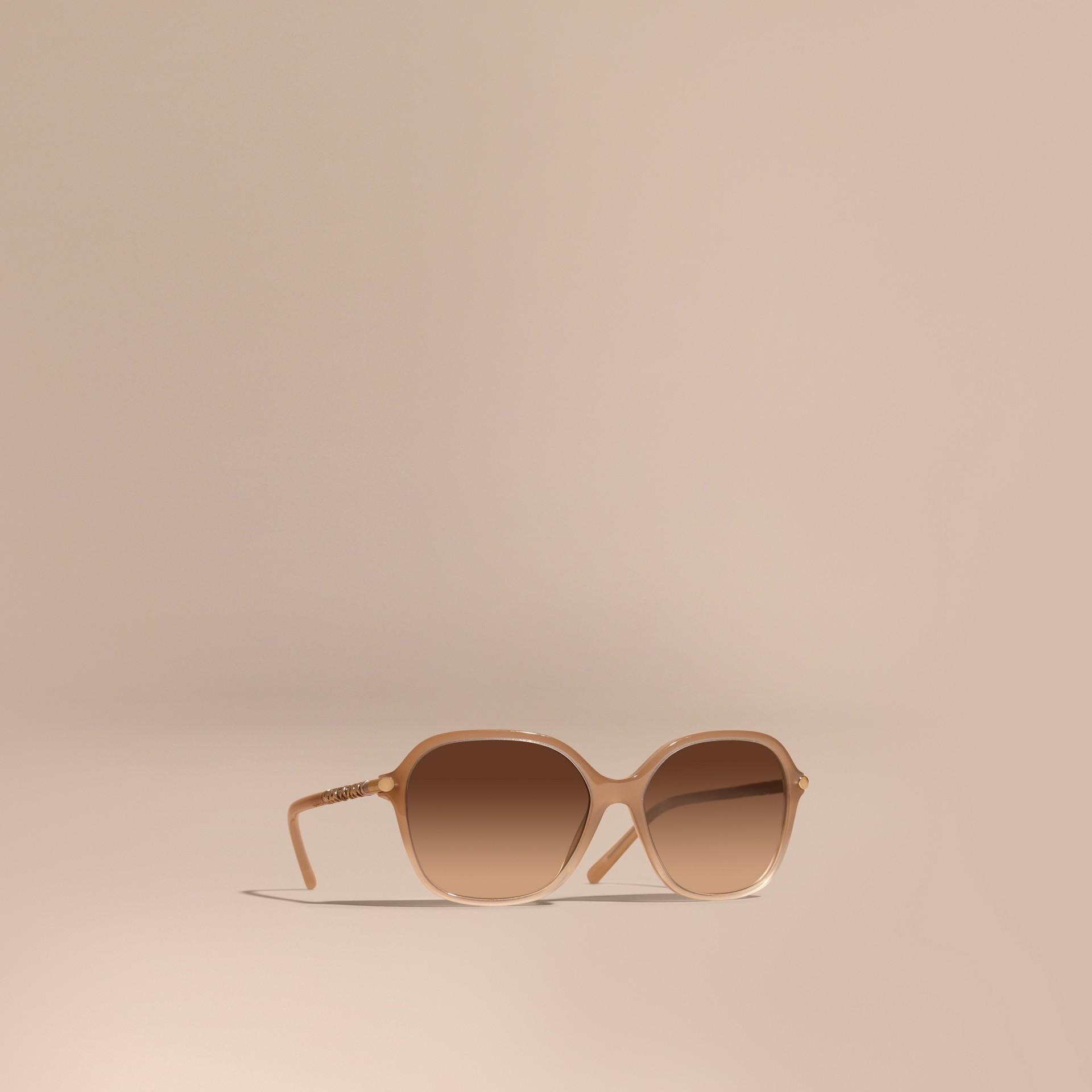 Chino grey Check Detail Round Frame Sunglasses Chino Grey - gallery image 1