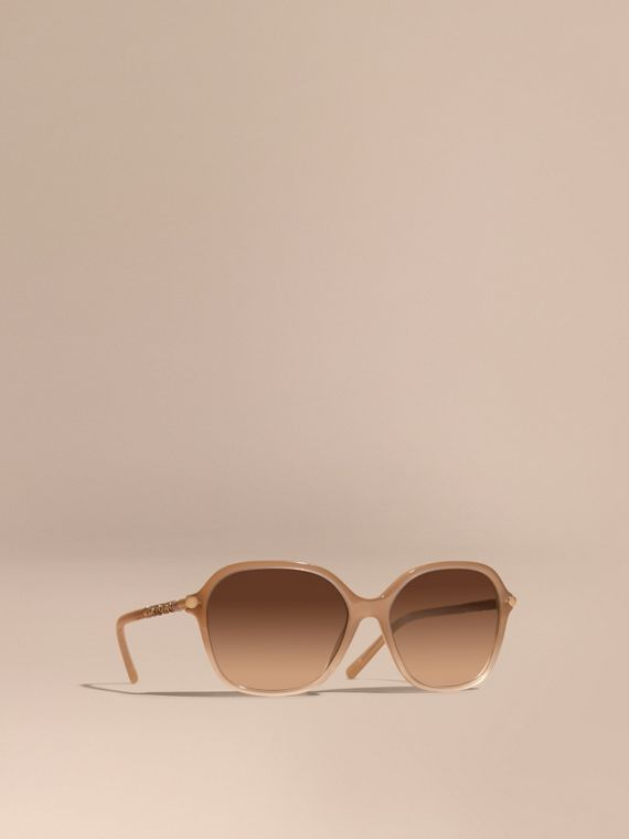 Check Detail Round Frame Sunglasses Chino Grey