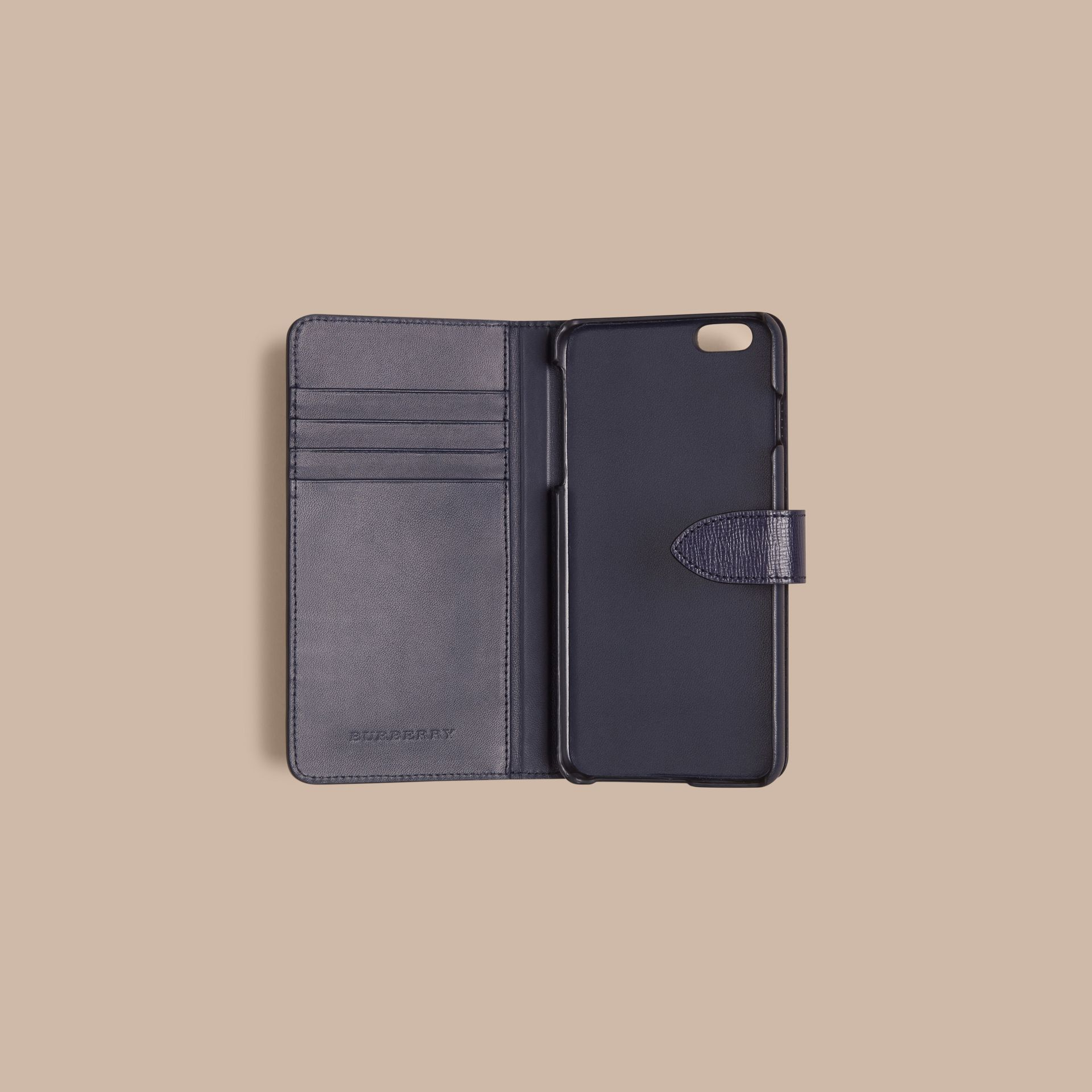 Dark navy London Leather iPhone 6 Plus Flip Case Dark Navy - gallery image 2