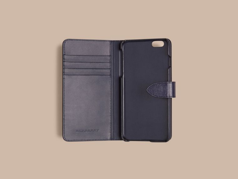 Dark navy London Leather iPhone 6 Plus Flip Case Dark Navy - cell image 1