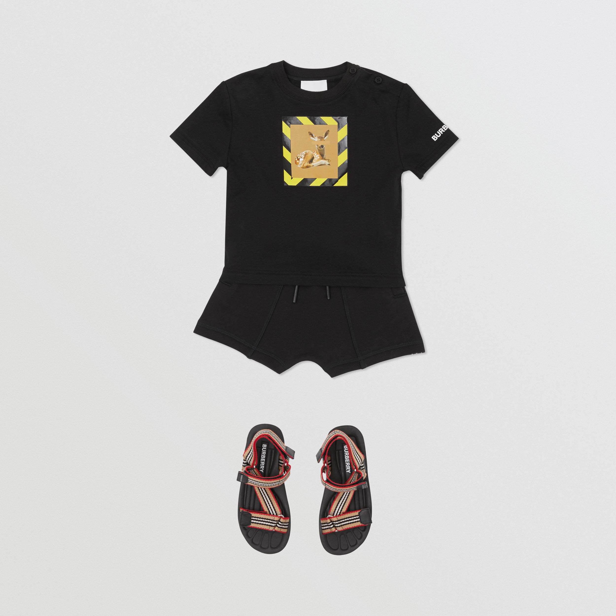 Deer Print Cotton T-shirt in Black - Children | Burberry - 3