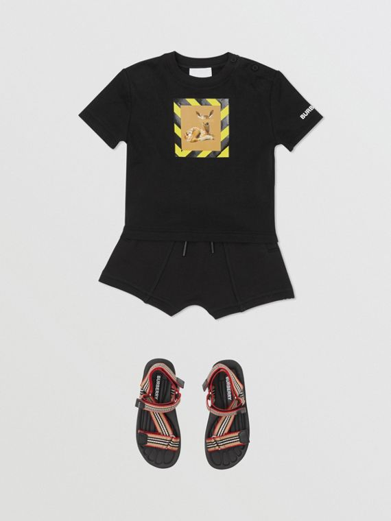 Deer Print Cotton T-shirt in Black