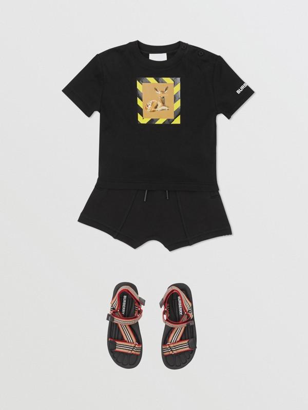 Deer Print Cotton T-shirt in Black - Children | Burberry Australia - cell image 2