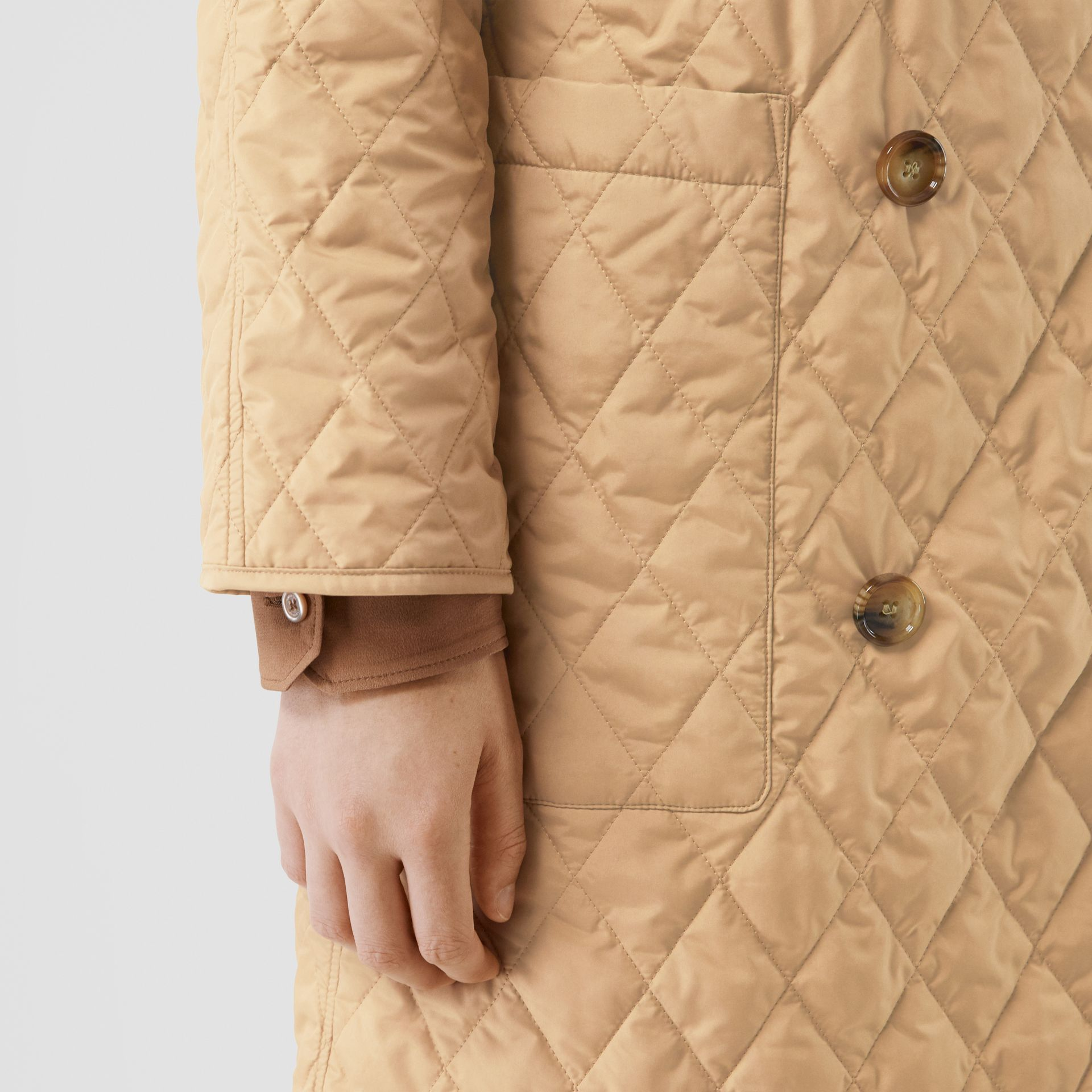 Diamond Quilted Double-breasted Coat in Biscuit - Women | Burberry - gallery image 5