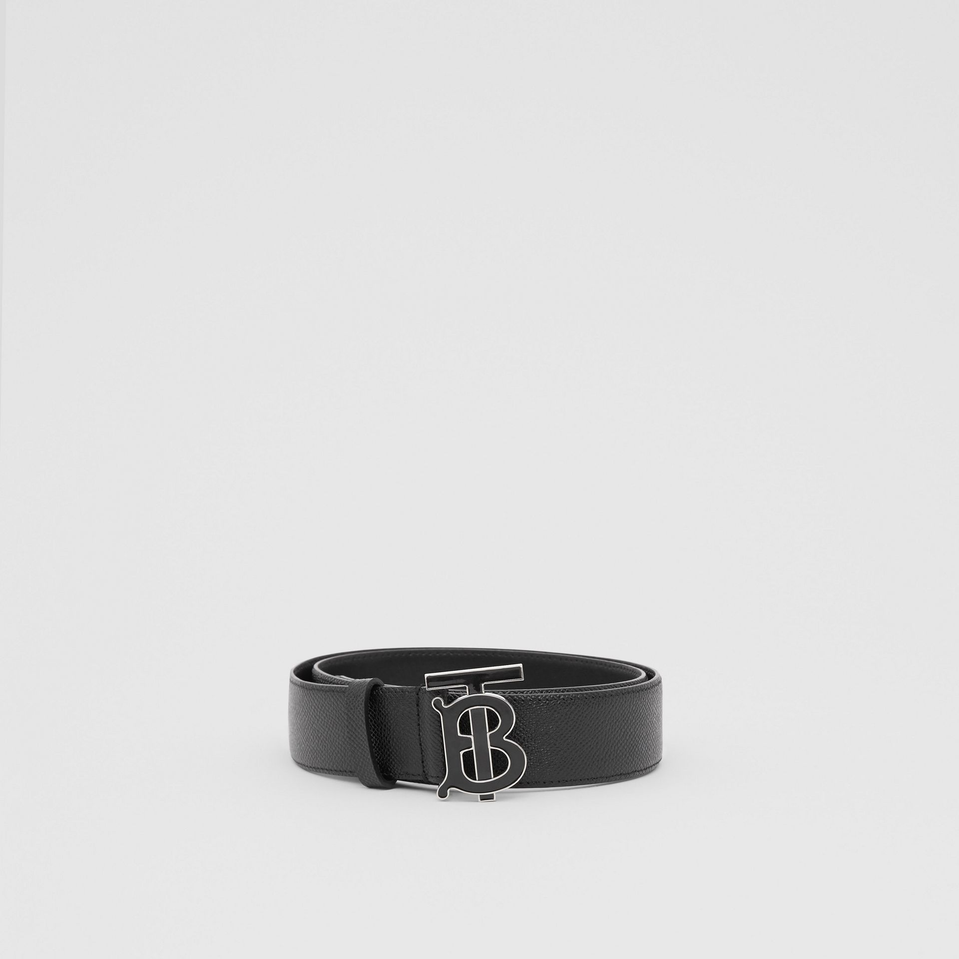 Monogram Motif Grainy Leather Belt in Black - Men | Burberry Singapore - gallery image 3