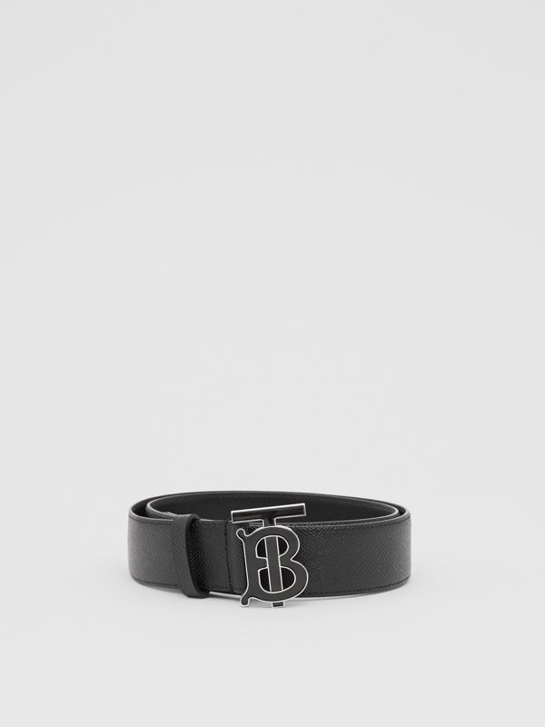 Monogram Motif Grainy Leather Belt in Black - Men | Burberry Singapore - cell image 3