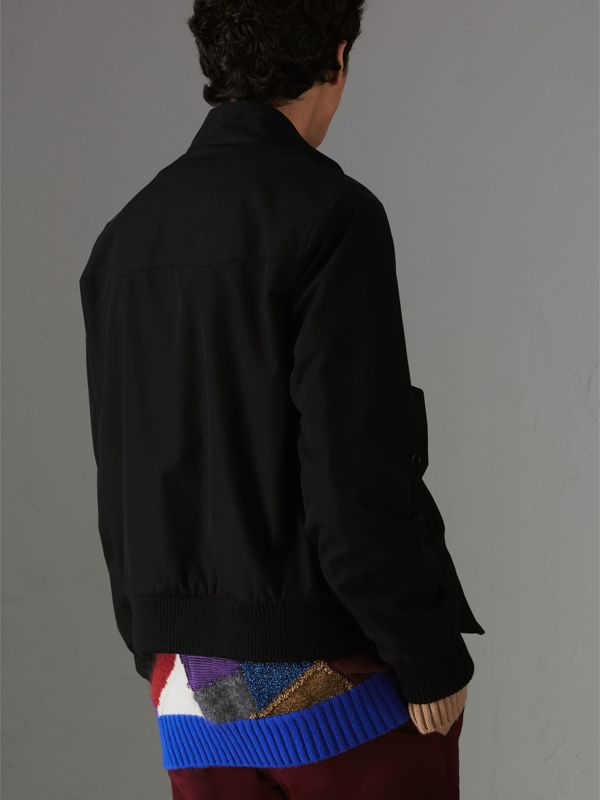 Slim Fit Tropical Gabardine Harrington Jacket in Black - Men | Burberry United States - cell image 2