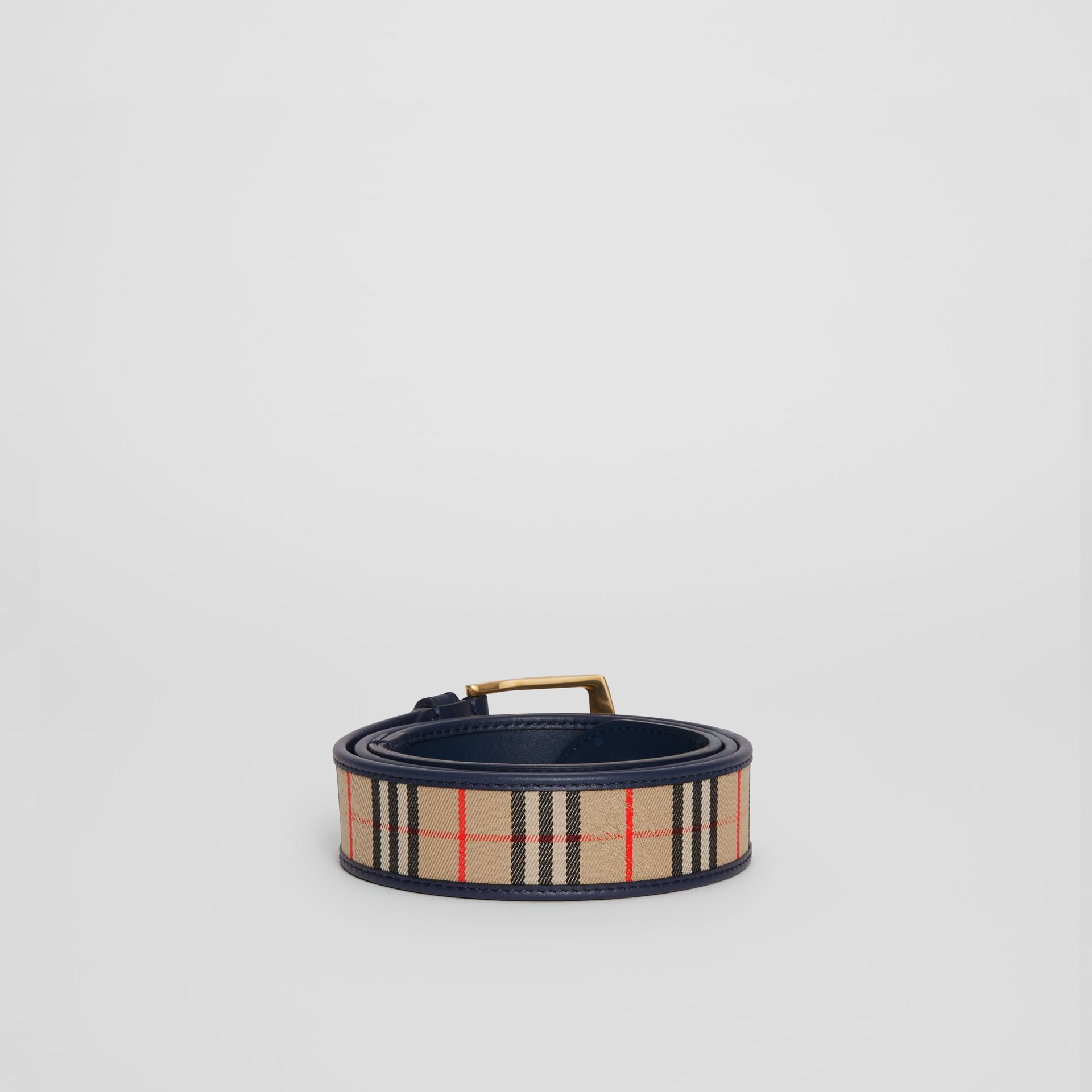1983 Check and Leather Belt in Ink Blue - Men | Burberry - gallery image 4