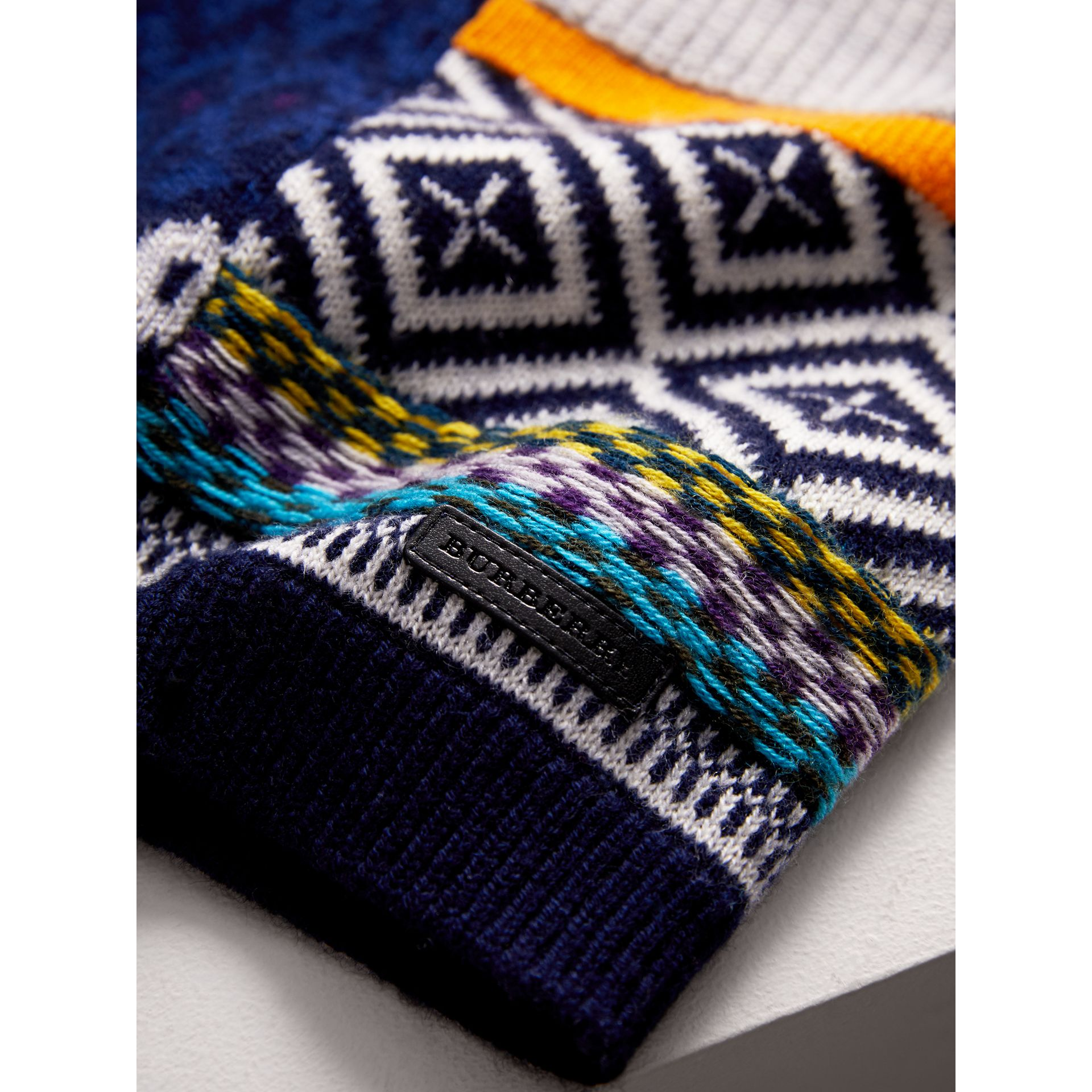 Fair Isle Wool Cashmere Patchwork Sweater in Navy | Burberry United States - gallery image 1