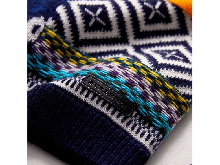 Fair Isle Wool Cashmere Patchwork Sweater in Navy | Burberry - cell image 1