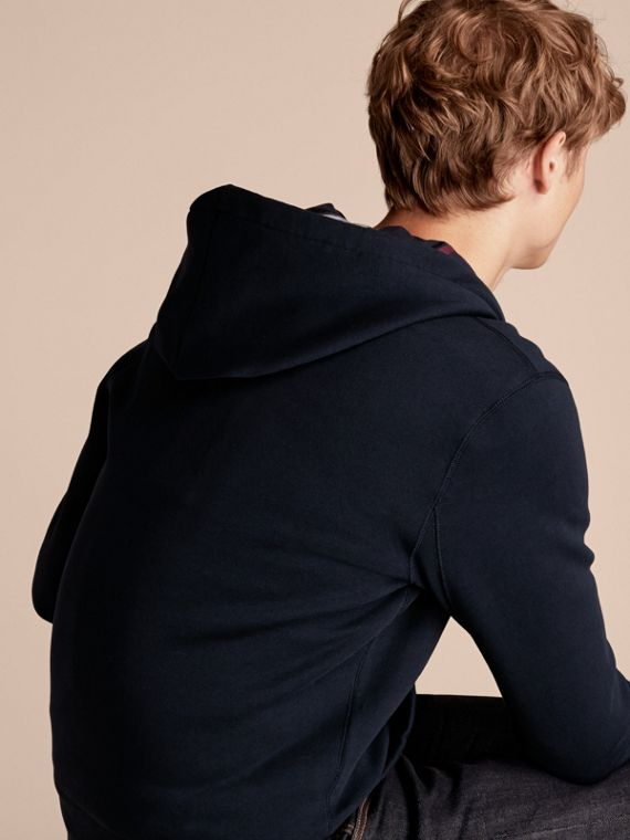 Navy Hooded Cotton Jersey Top Navy - cell image 2