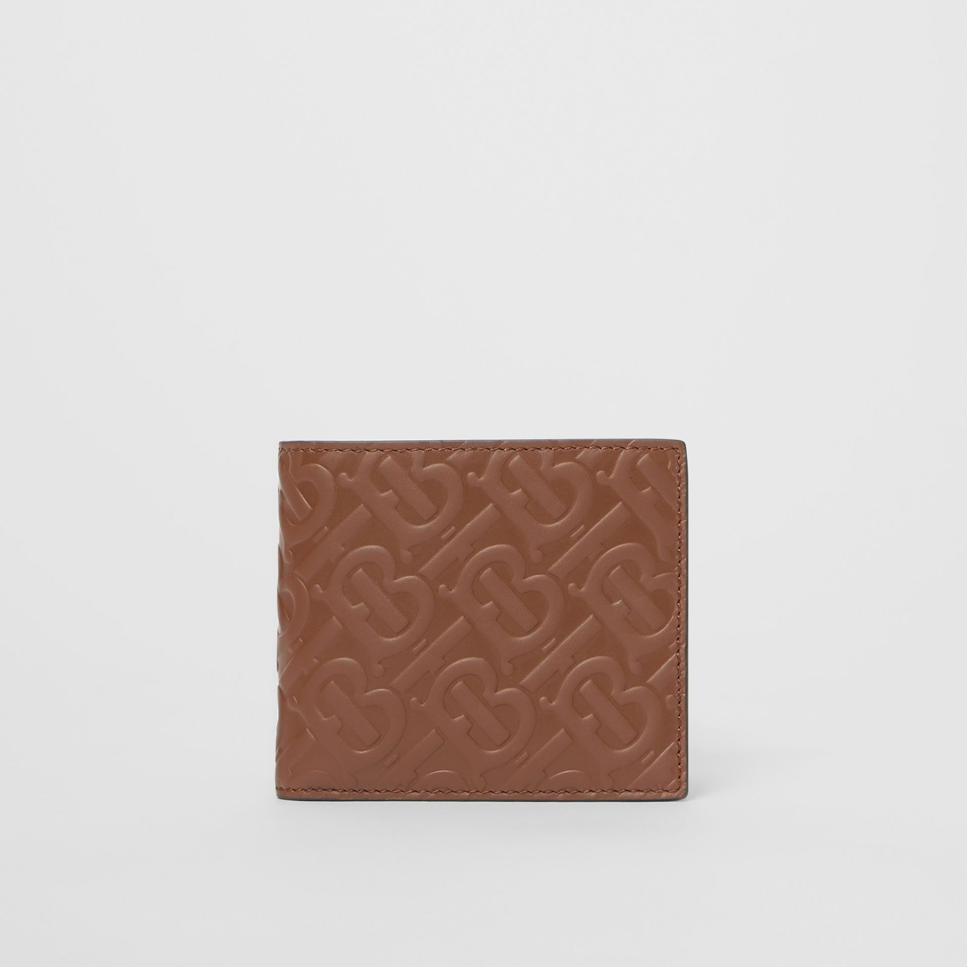 Monogram Leather International Bifold Wallet in Dark Tan - Men | Burberry Australia - gallery image 0