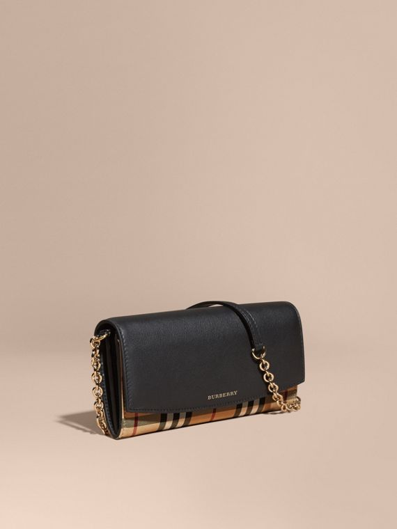 Horseferry Check and Leather Wallet with Chain in Black