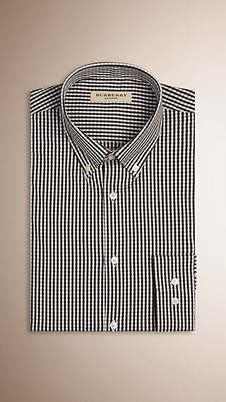 Slim Fit Gingham Stretch-cotton Shirt