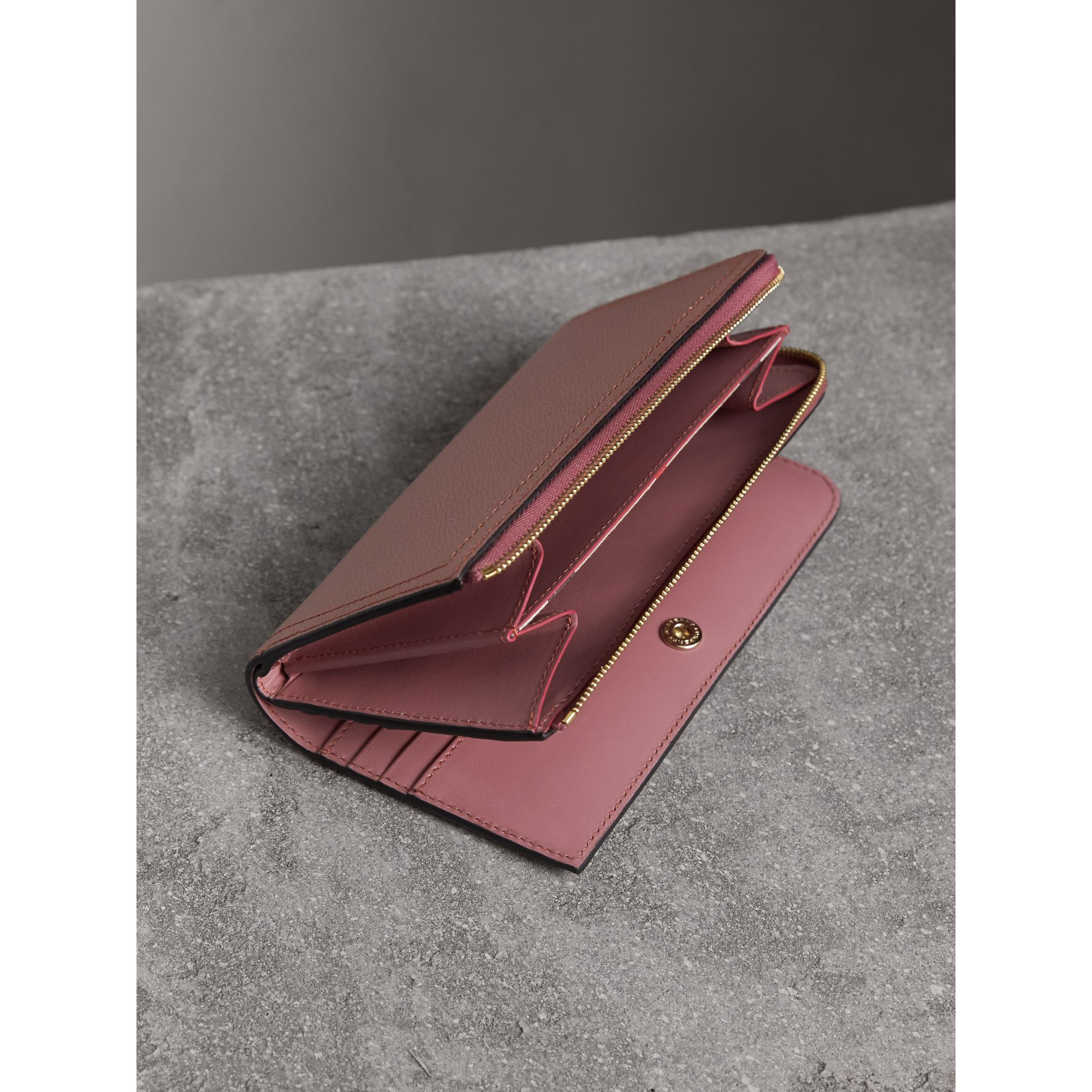 Grainy Leather Ziparound Wallet in Dusty Pink - gallery image 4