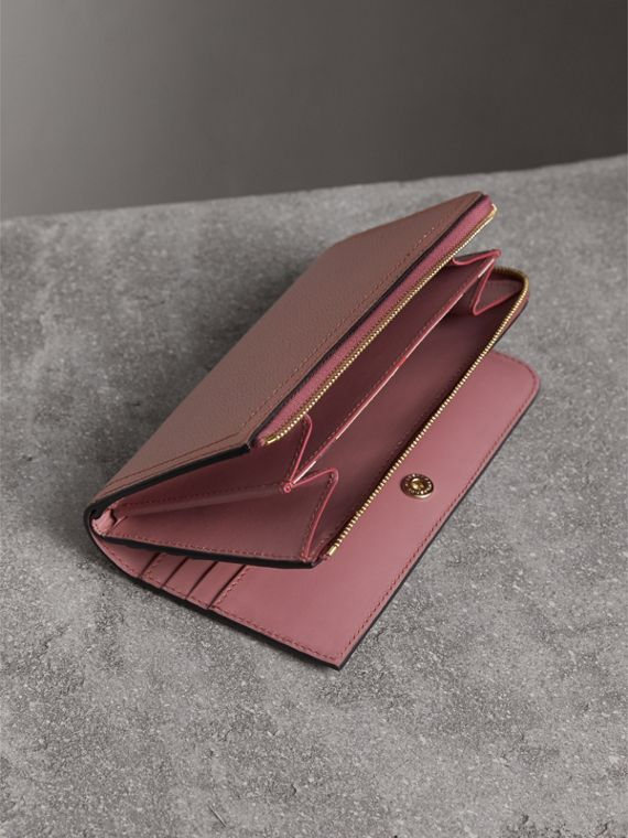 Grainy Leather Ziparound Wallet in Dusty Pink - cell image 3