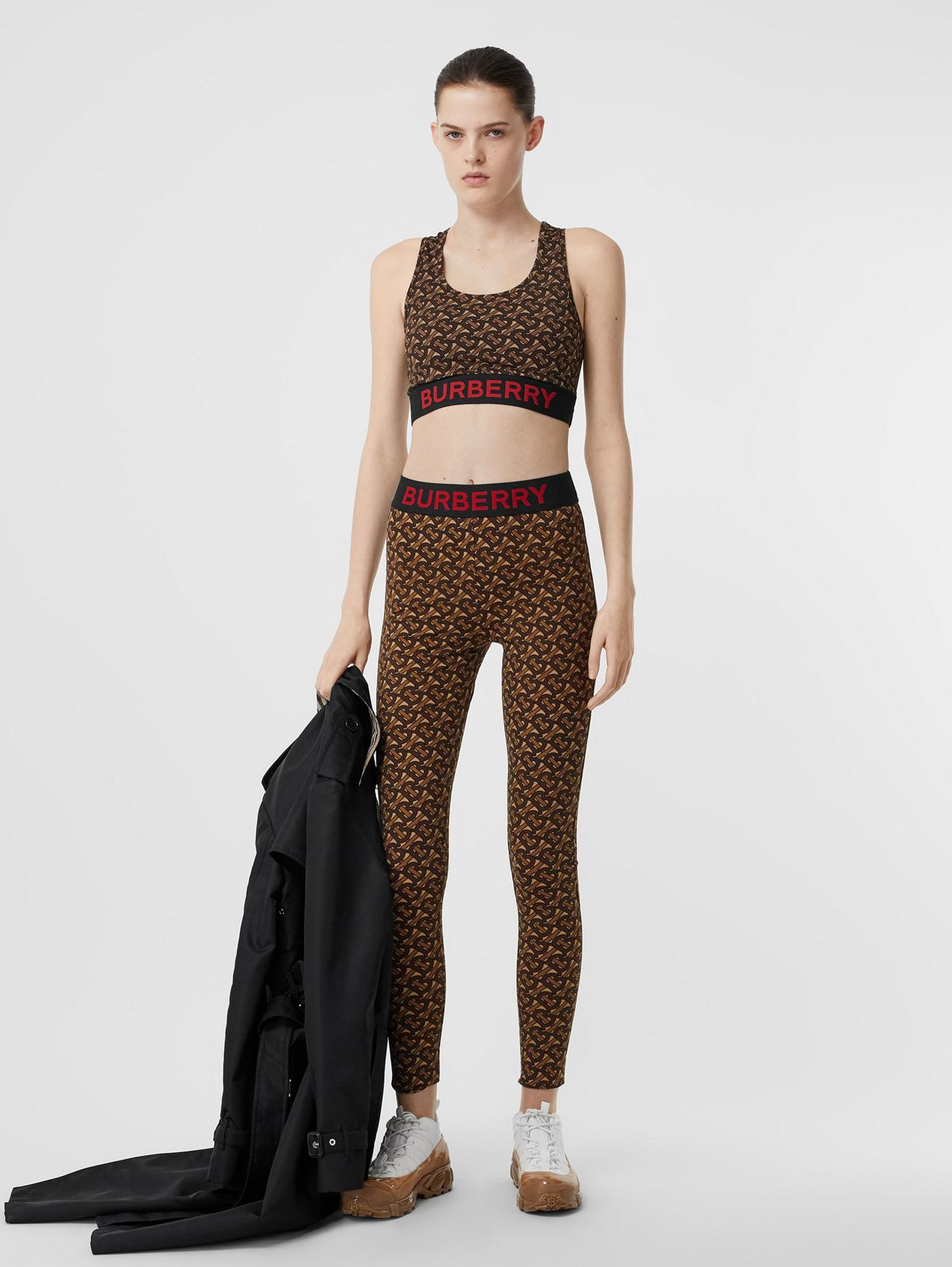 Monogram Print Stretch Jersey Cropped Top in Bridle Brown