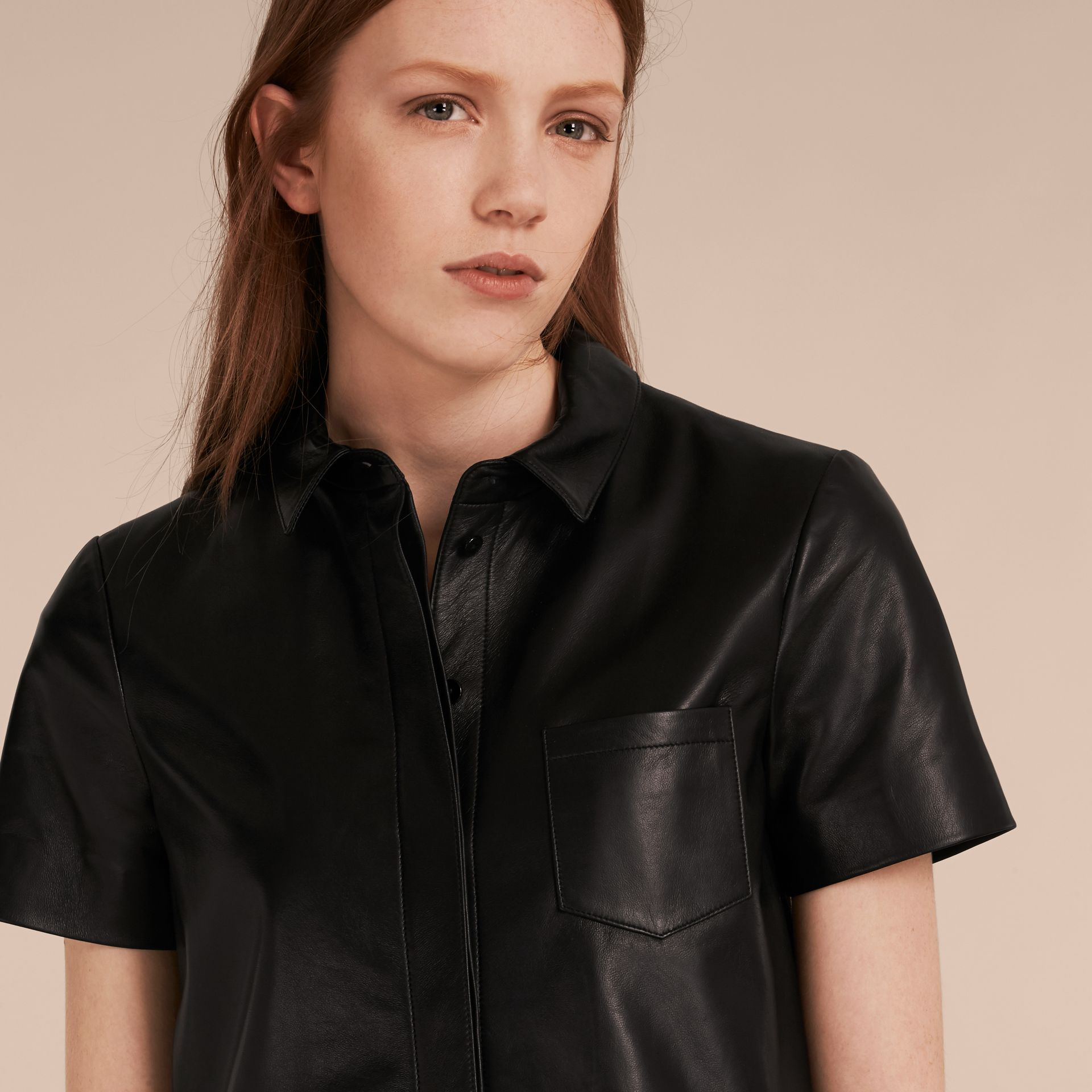Black Short-sleeved Lambskin Shirt - gallery image 5