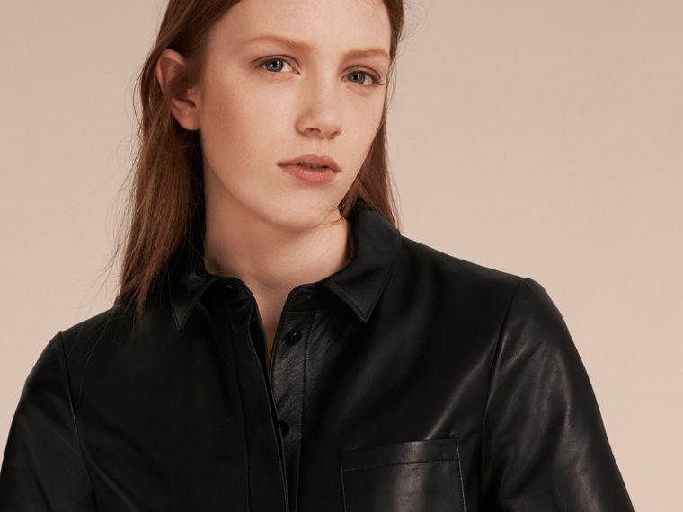 Black Short-sleeved Lambskin Shirt - cell image 4