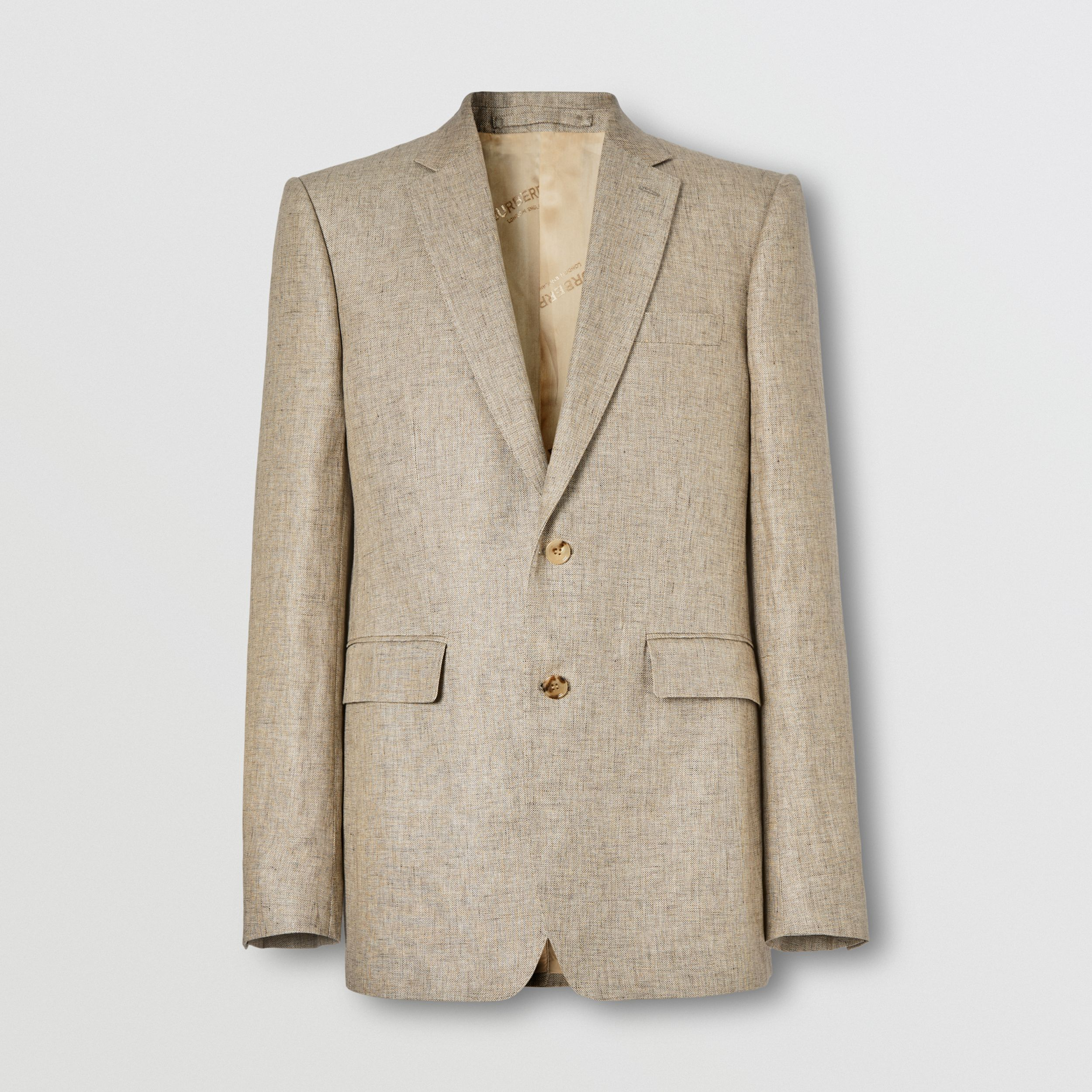 Classic Fit Linen Tailored Jacket in Cedar Brown Melange - Men | Burberry Singapore - 4