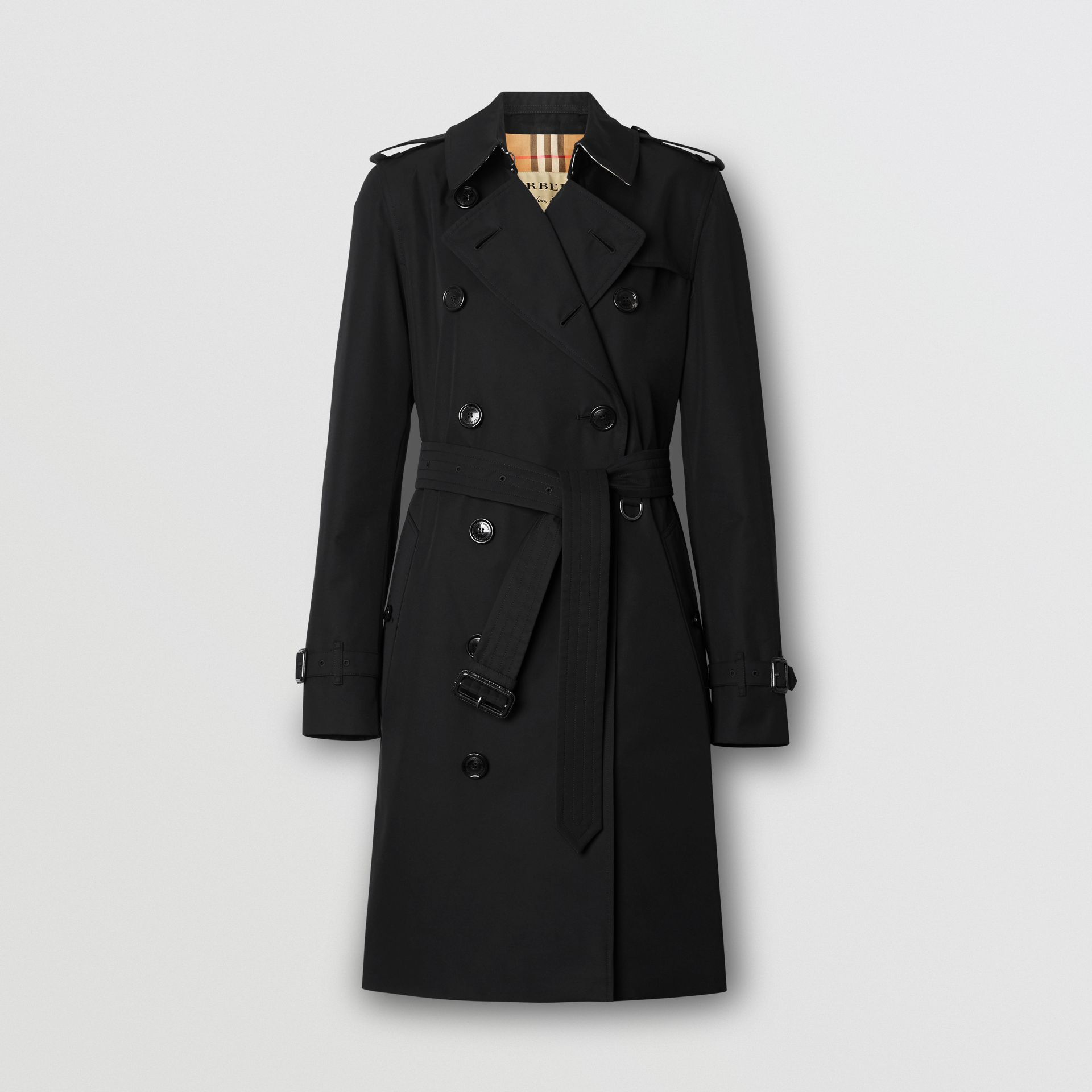 Kensington Fit Cotton Gabardine Trench Coat in Black - Women | Burberry - gallery image 3