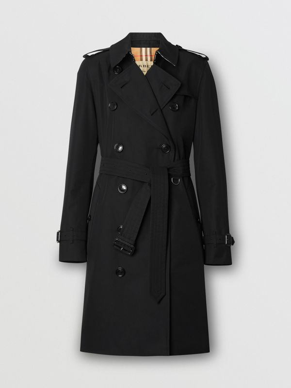 Kensington Fit Cotton Gabardine Trench Coat in Black - Women | Burberry - cell image 3