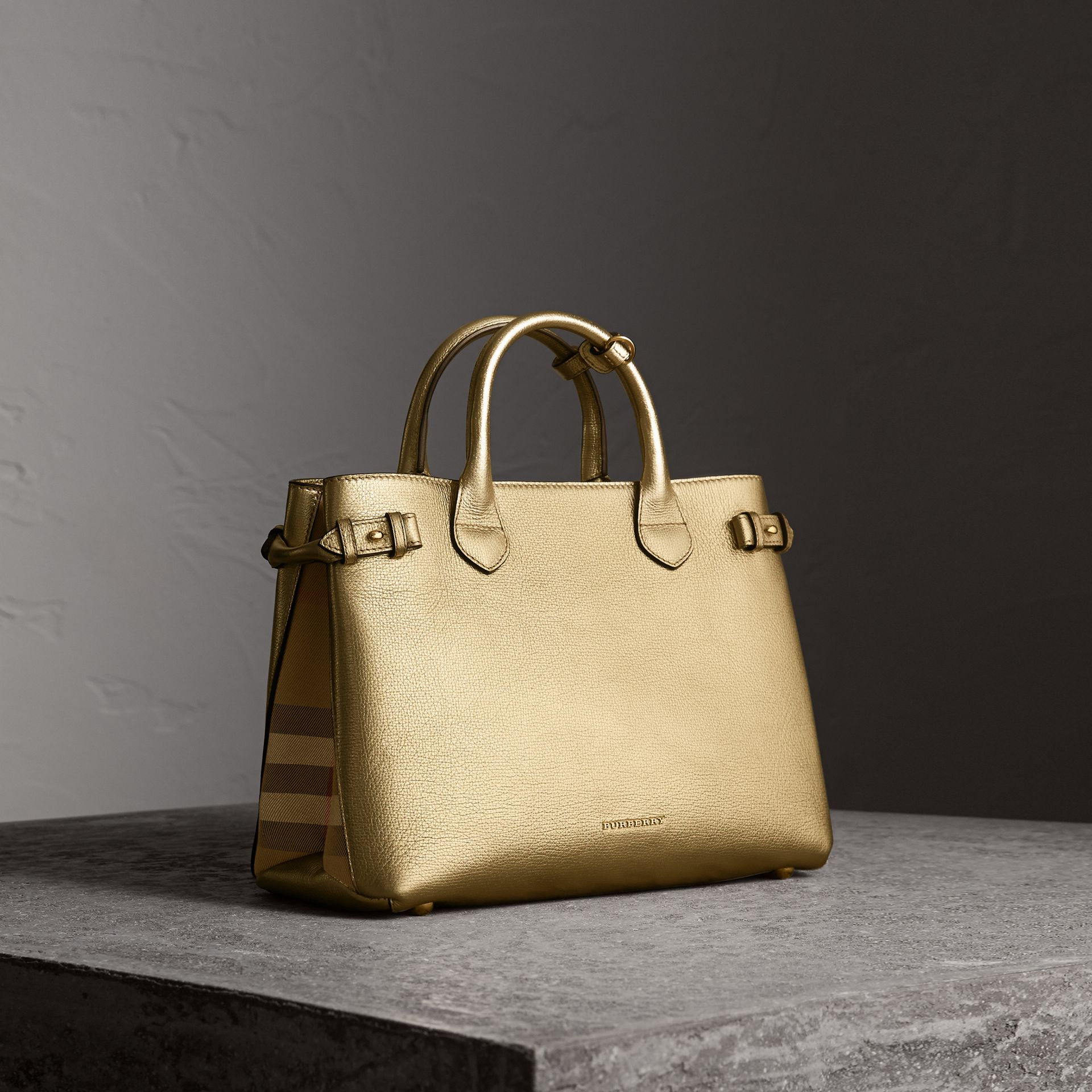 The Medium Banner in Leather and House Check in Gold - Women | Burberry - gallery image 0