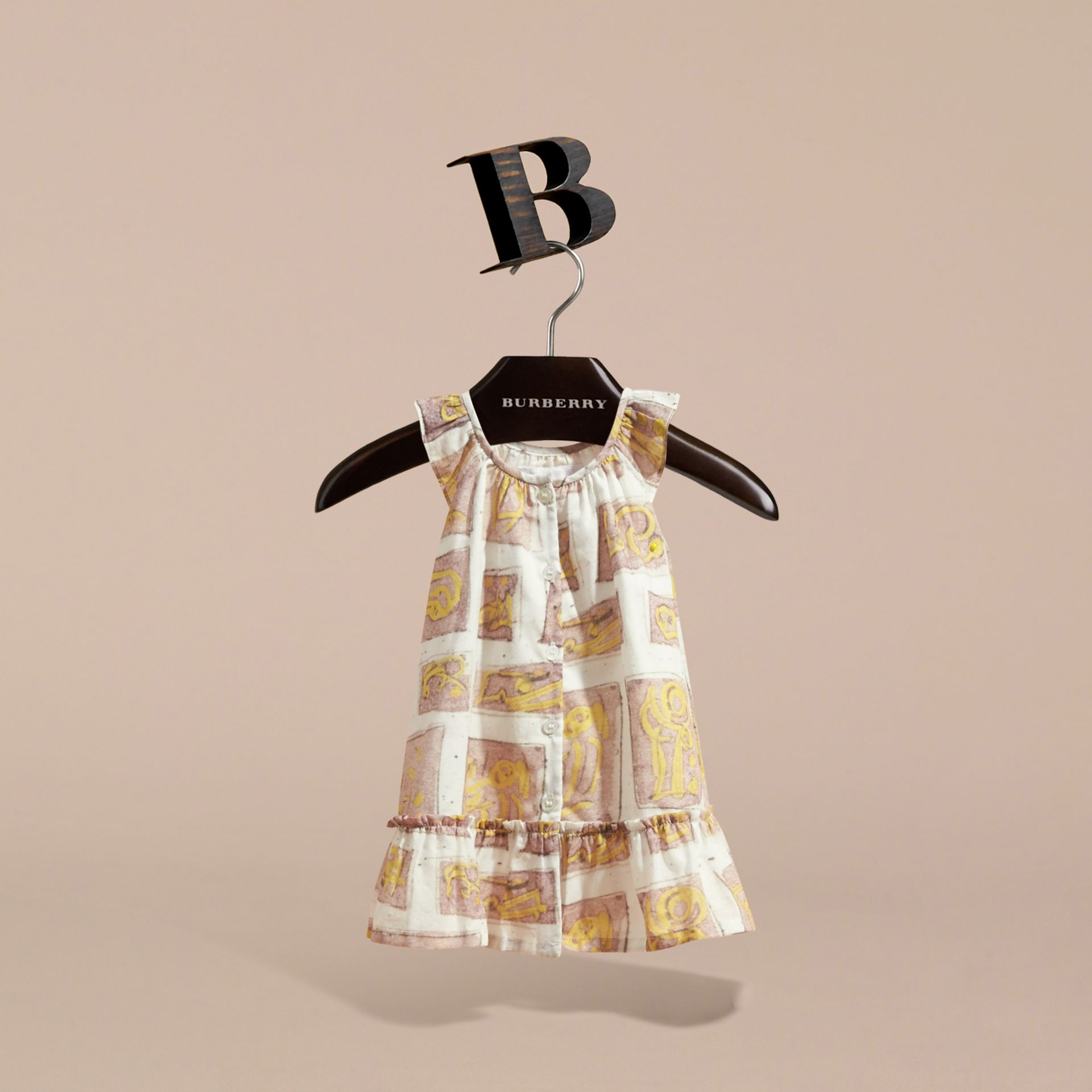 Framed Motifs Print Cotton Dress in Pale Ash Rose | Burberry - gallery image 3