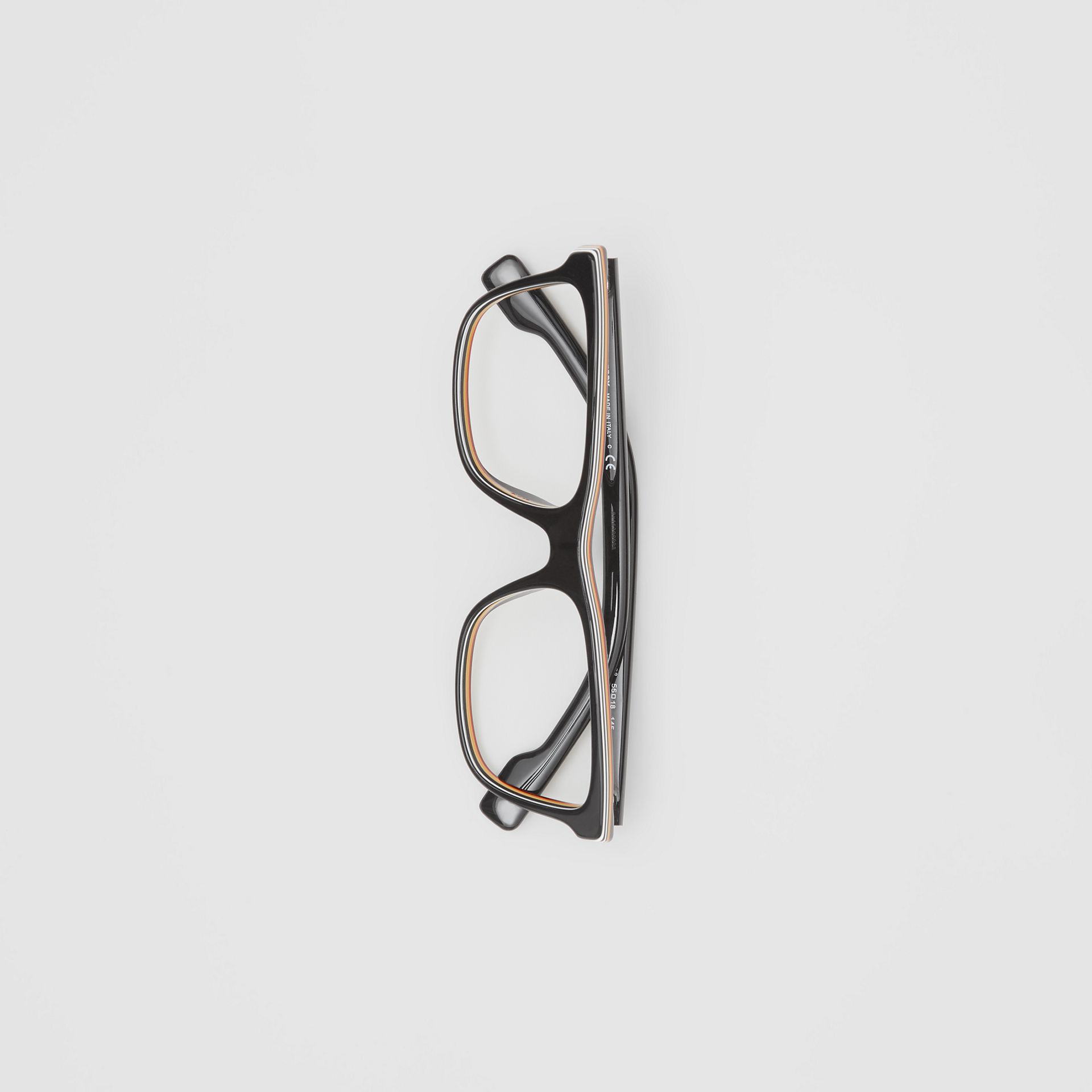 Icon Stripe Detail Rectangular Optical Frames in Black - Men | Burberry - gallery image 3
