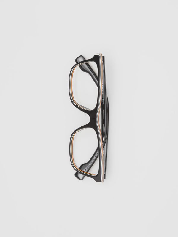 Icon Stripe Detail Rectangular Optical Frames in Black - Men | Burberry - cell image 3