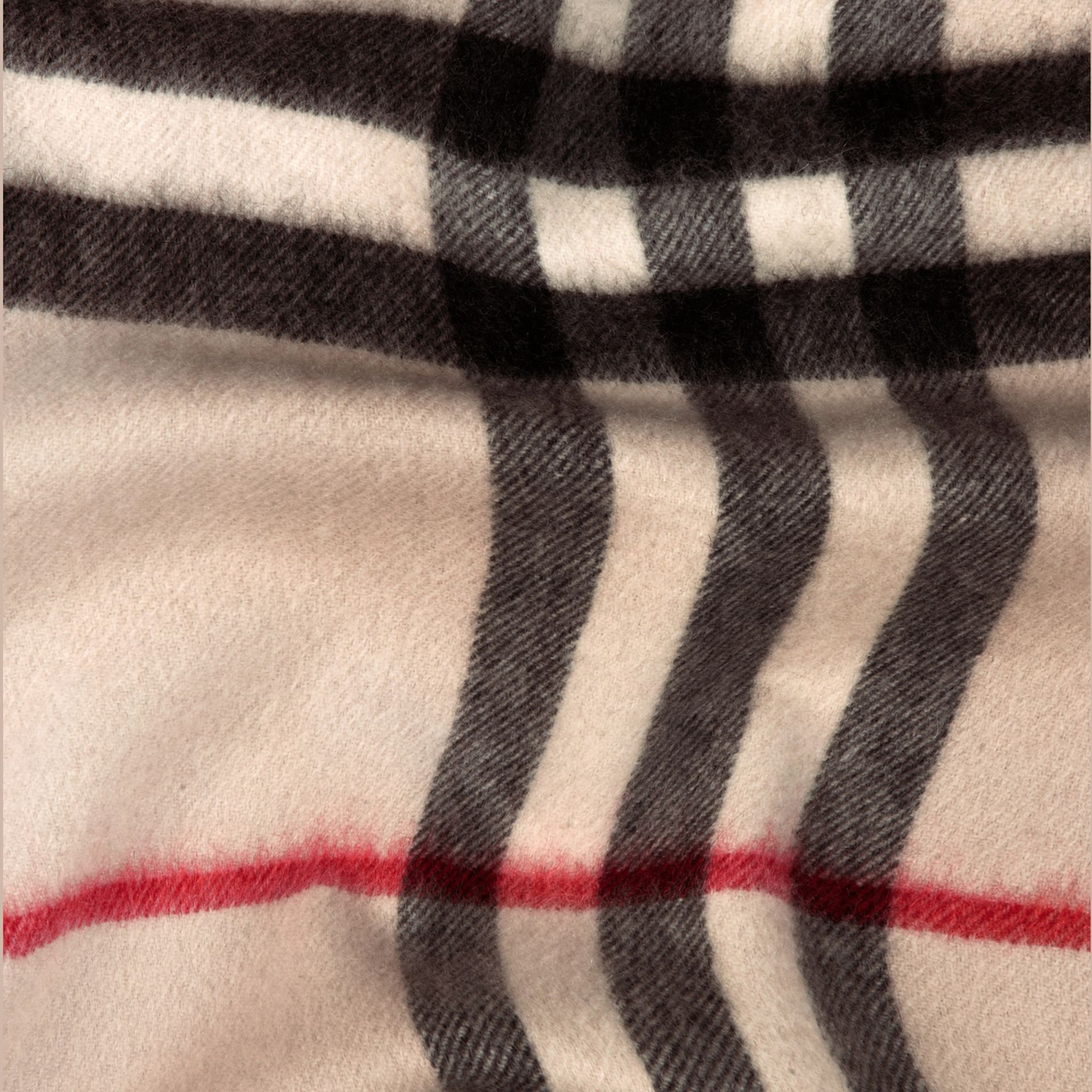 The Classic Cashmere Scarf in Check in Stone - gallery image 5