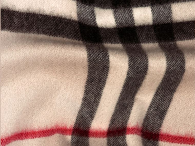 The Classic Cashmere Scarf in Check in Stone - cell image 4