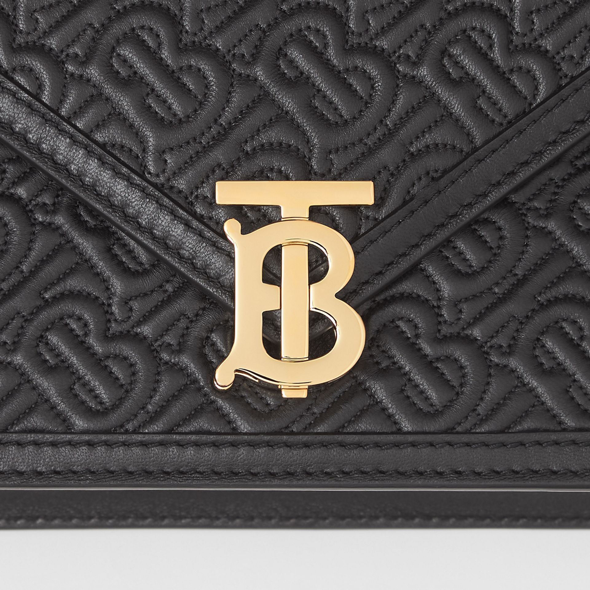 Small Quilted Monogram TB Envelope Clutch in Black - Women | Burberry - gallery image 1