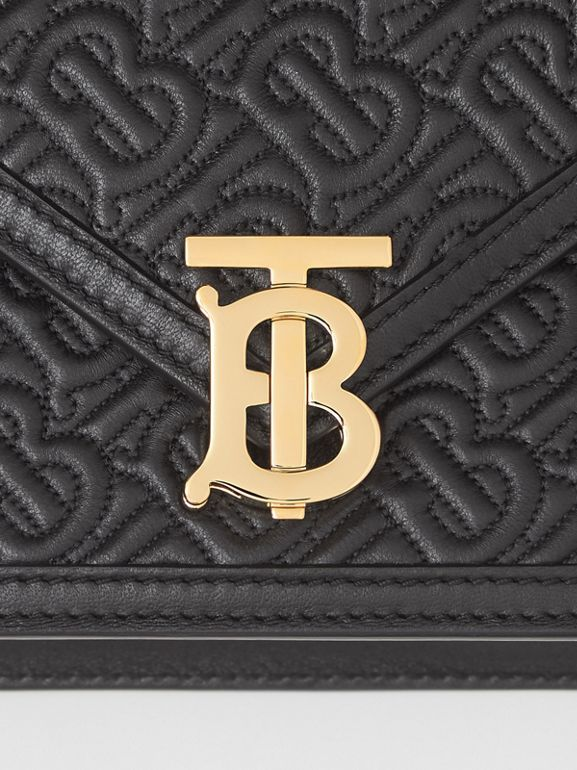 Small Quilted Monogram TB Envelope Clutch in Black - Women | Burberry - cell image 1