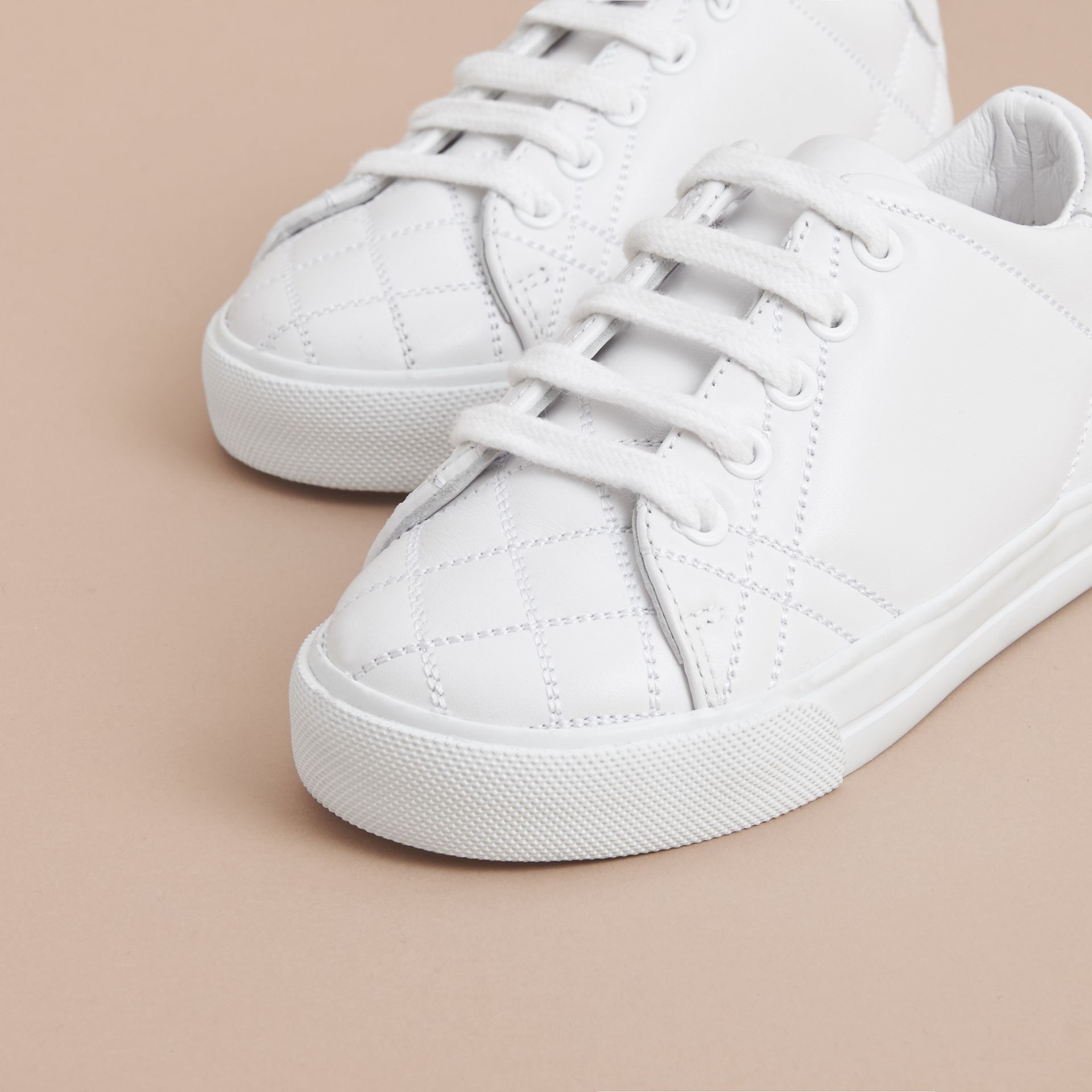 Check Detail Leather Trainers in Optic White | Burberry - gallery image 3