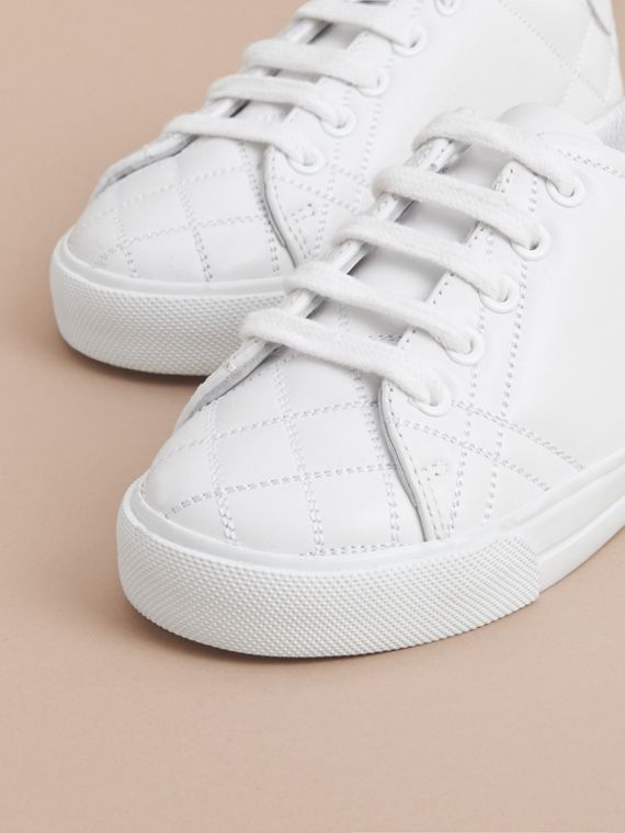 Check Detail Leather Trainers in Optic White | Burberry - cell image 2