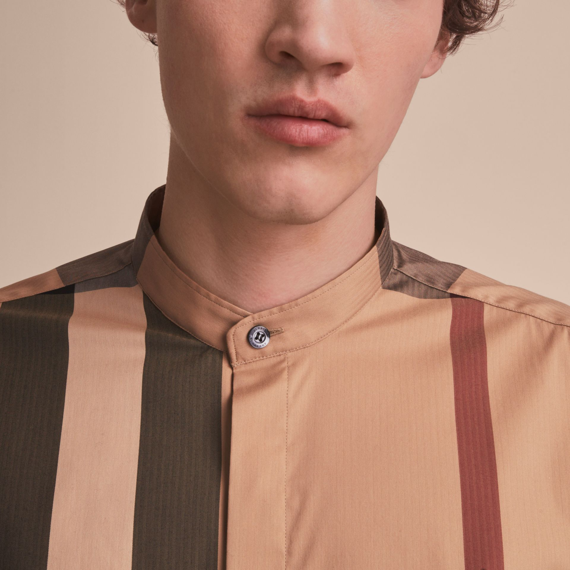 Grandad Collar Check Cotton Blend Shirt in Camel - Men | Burberry - gallery image 5