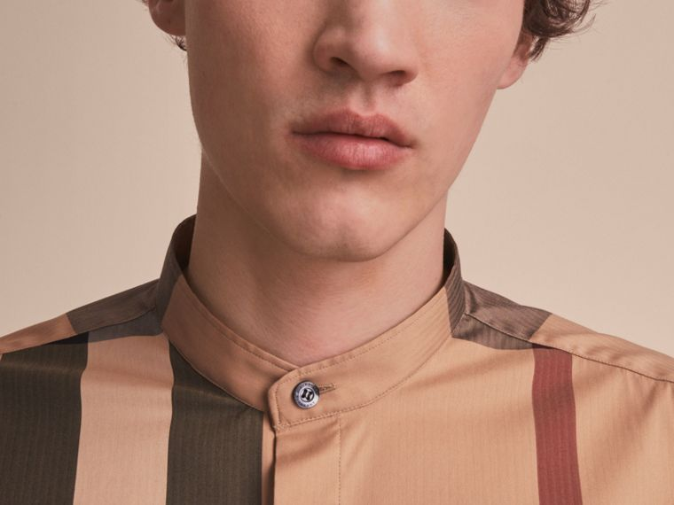 Grandad Collar Check Cotton Blend Shirt in Camel - Men | Burberry - cell image 4