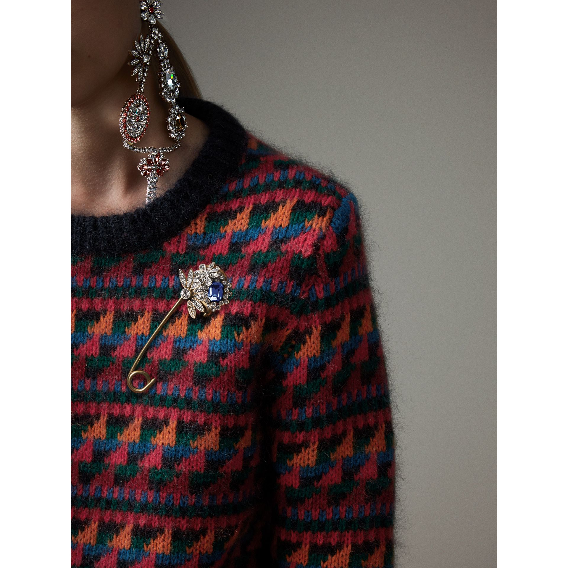Crystal and Brass Oversized Pin in Blue | Burberry - gallery image 2