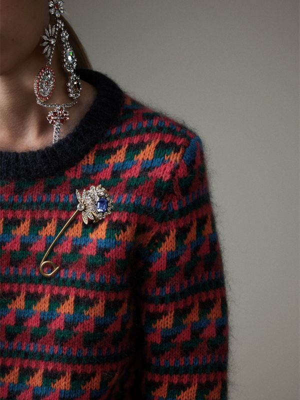Crystal and Brass Oversized Pin in Blue | Burberry Singapore - cell image 2