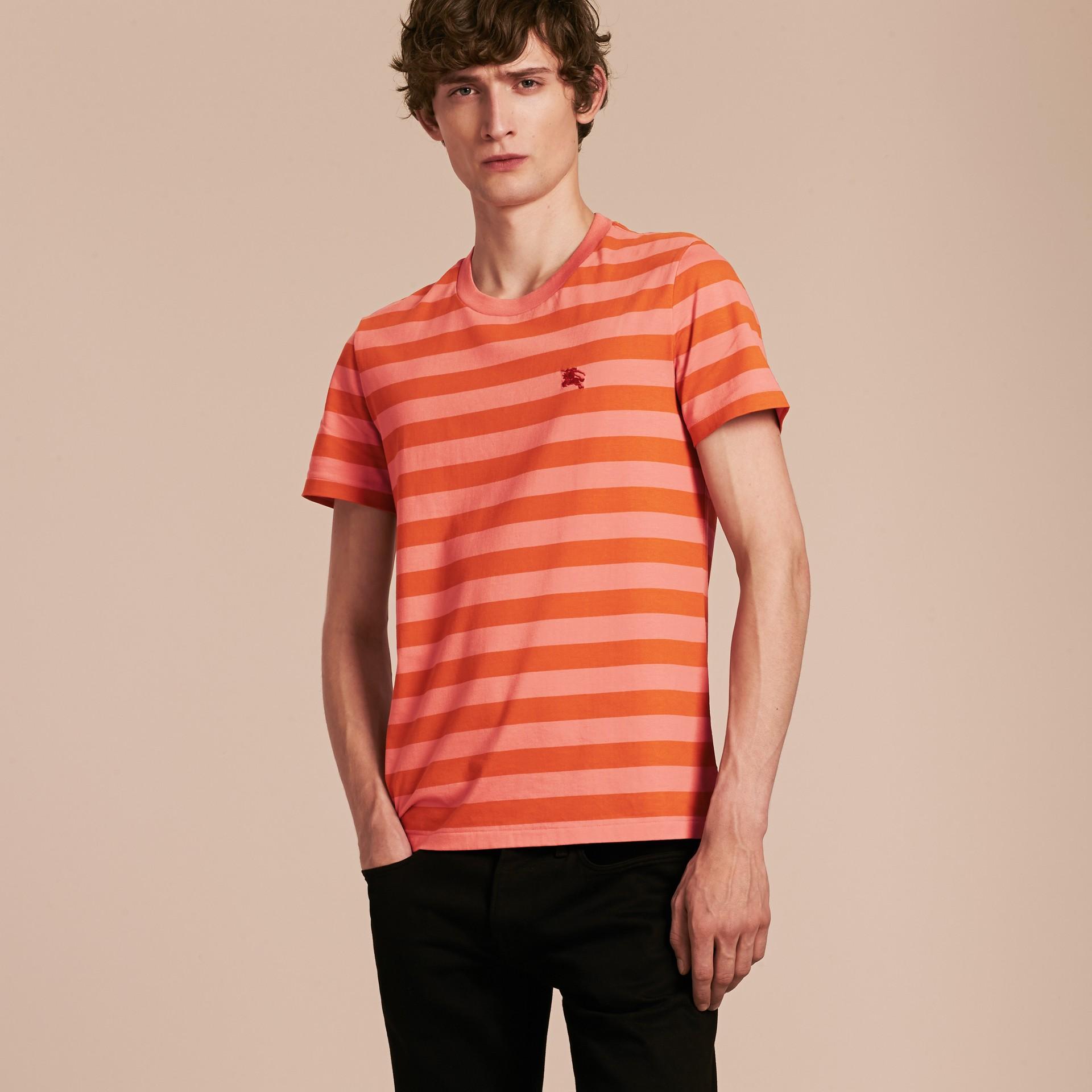 Striped Cotton T-Shirt Orange/rose Pink - gallery image 6