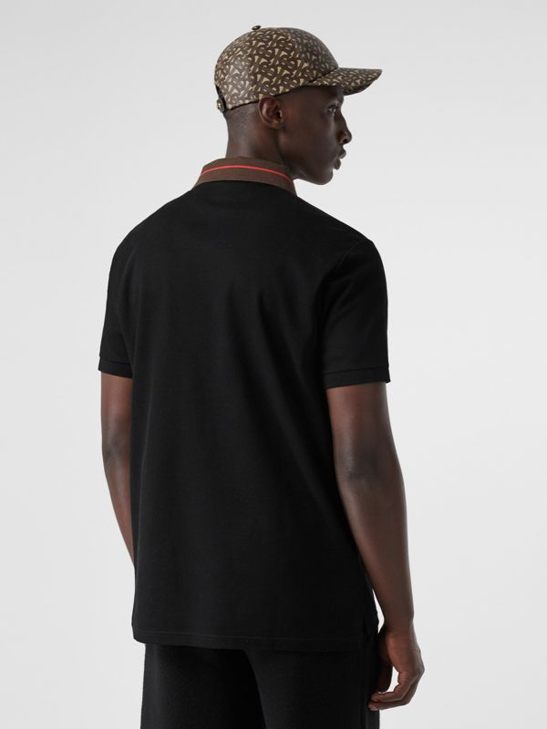 Logo Detail Cotton Piqué Polo Shirt in Black - Men | Burberry - cell image 2