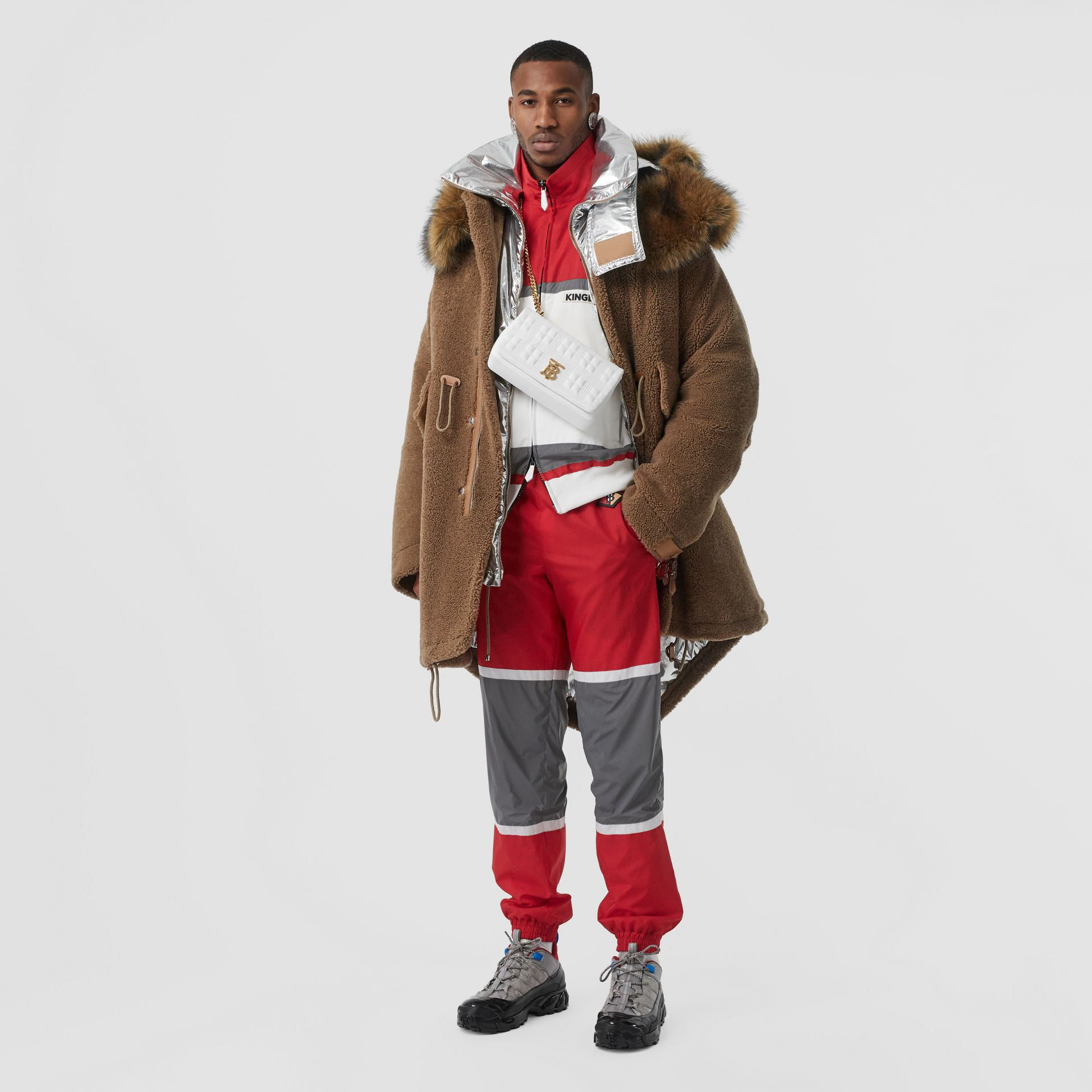 Giacca sportiva in nylon a righe con logo (Rosso Intenso) - Uomo | Burberry - immagine della galleria 4