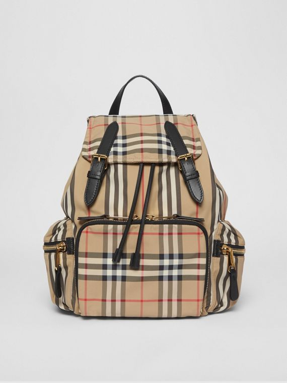 The Medium Rucksack in Icon Stripe Nylon in Archive Beige